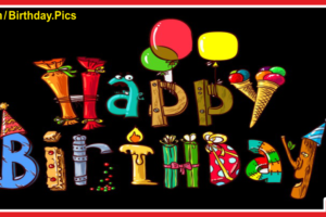 Colorful Flying Letters On Black Birthday Card For You