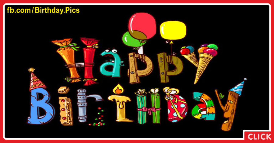 Colorful Flying Letters On Black Birthday Card for celebrating
