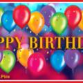 Colourful Balloons Golden Happy Birthday Card