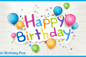 Confetti Balloons Blue Happy Birthday Card