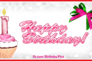 Cupcake With Pink Candle Birthday Card