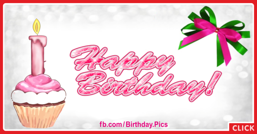Cupcake With Pink Candle Birthday Card for celebrating