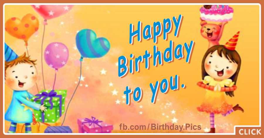 Cute Children Party Happy Birthday Card Happy Birthday Videos And