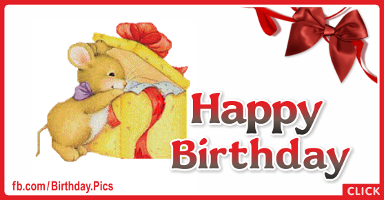 Cute Mouse Gift Box Happy Birthday Card