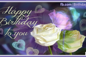 Dark Bg Pastel Flowers Happy Birthday Card
