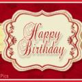 Elegant Design Red Happy Birthday Card