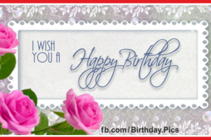 Elegant Pink Roses Happy Birthday Card