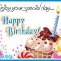 Enjoy Colorful Cupcake Happy Birthday Card
