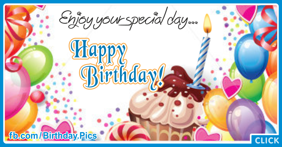 Enjoy Colorful Cupcake Happy Birthday Card