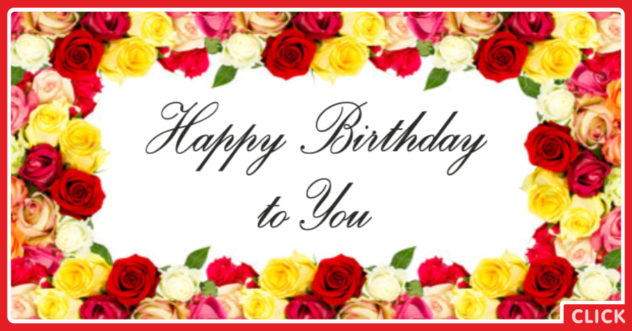 Flowers Frame Happy Birthday Card