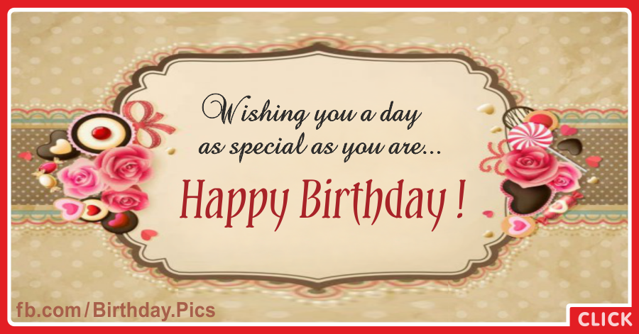 Flowery Brown Label Happy Birthday Card