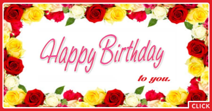 Framed Flowers Happy Birthday Card
