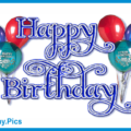 Glitter Blue Happy Birthday Card