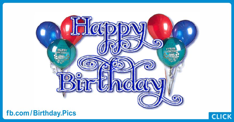 Glitter Blue Happy Birthday Card