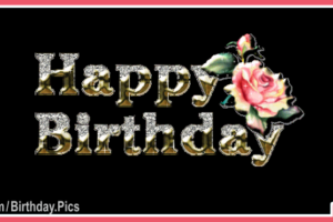 Gold 3D Text Black Happy Birthday Card