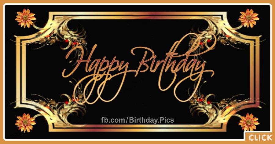 gold frame on black birthday card happy birthday videos and