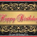 Gold Ornamental Motifs Happy Birthday Card