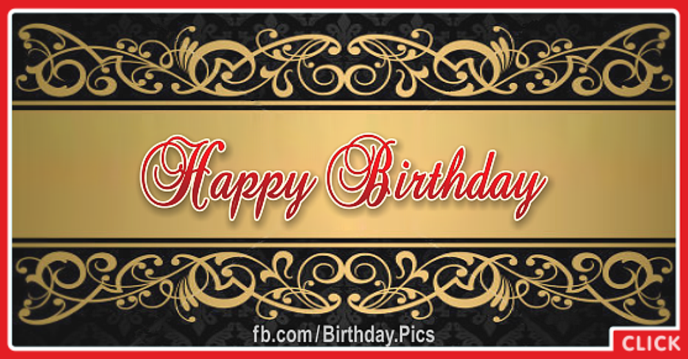 Gold Ornamental Motifs Happy Birthday Card