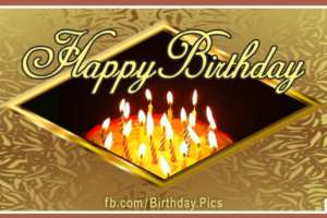 Gold Plate Diamond Window Happy Birthday Card