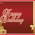 Golden Cake Hearts Happy Birthday Card