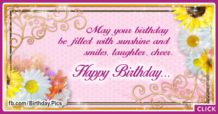 Golden Frame Yellow Flowers Birthday Card