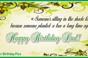 Green Tree Happy Birthday Dad Card