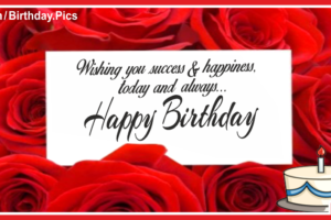 Hand Writing On Red Roses Birthday Card