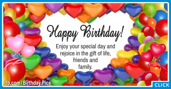 Heart Balloons Colorful Happy Birthday Card