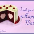 Heart In Cake Happy Birthday Card