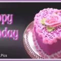 Heart Shaped Pink Cake Happy Birthday Card
