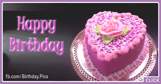 Heart Shaped Pink Cake Happy Birthday Card