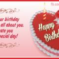 Heart Shaped Red Cake Happy Birthday Card