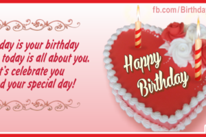 Heart Shaped Red Cake Happy Birthday Card For You