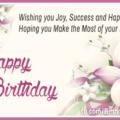 Joy Success Happiness Happy Birthday Card