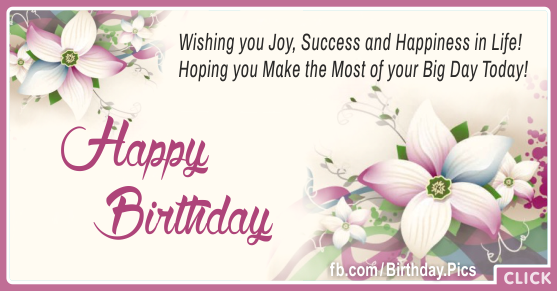 Joy Success Happiness Happy Birthday Card