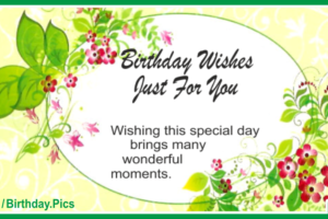 Flower Decorated Green Happy Birthday Card Just For You