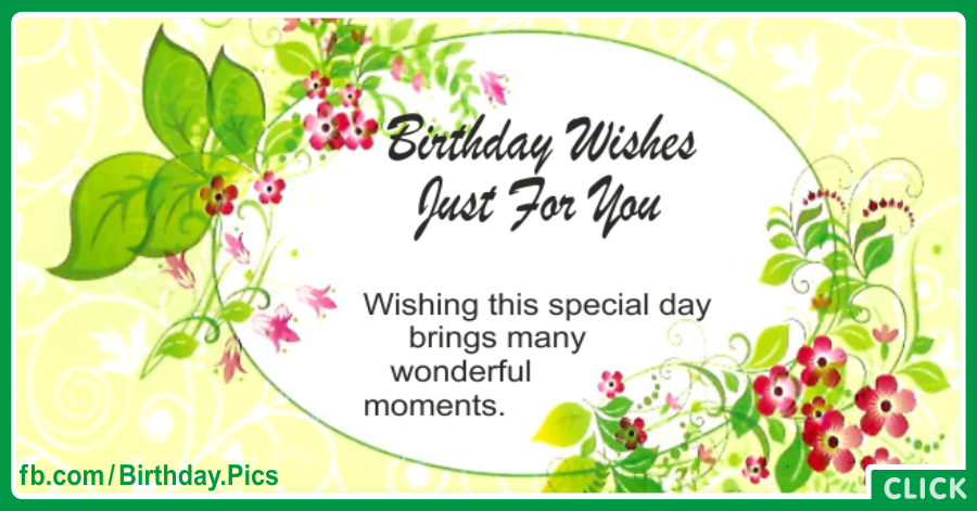 Just For You Green - Happy Birthday Card