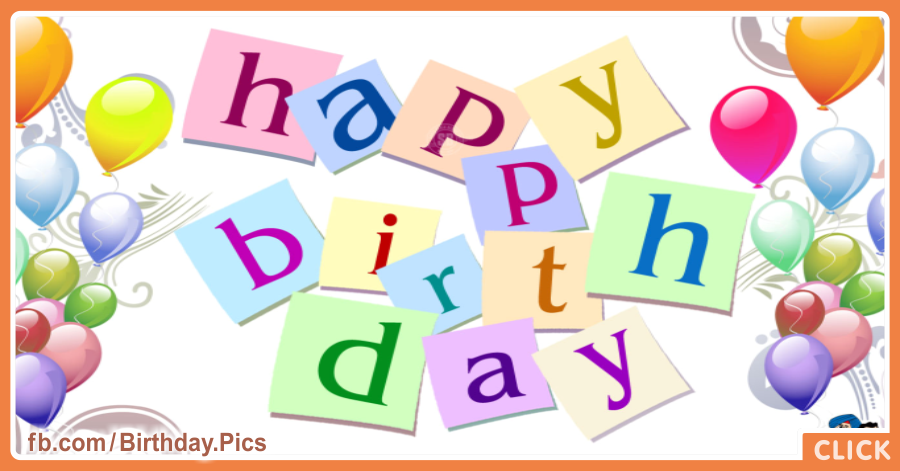 Letters And Balloons On White Birthday Card for celebrating