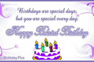 Lilac Color Cake Happy Birthday Card