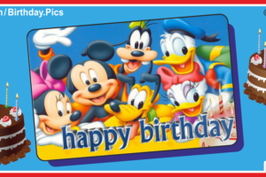 Mickey And Friends Silver Happy Birthday Card