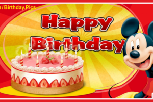 Pink Cake And Mickey Mouse Birthday Card For You