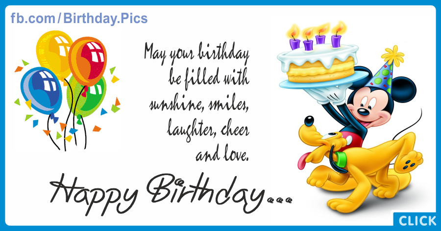 Mickey Mouse Pluto Cake Happy Birthday Card for celebrating