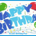 Naive Balloons Blue Happy Birthday Card
