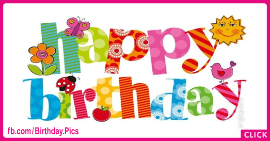 Naive Colorful Text Happy Birthday Card