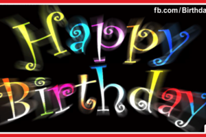Neon Letters On Black Happy Birthday Card