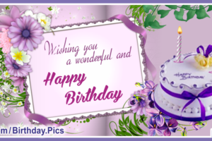 Happy Birthday Card With White-Purple Cake For You