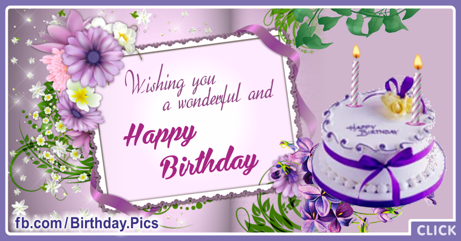 Happy Birthday Card With White Purple Cake For You Happy Birthday