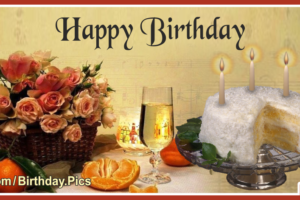 Old Style Flowers Cake Happy Birthday Card