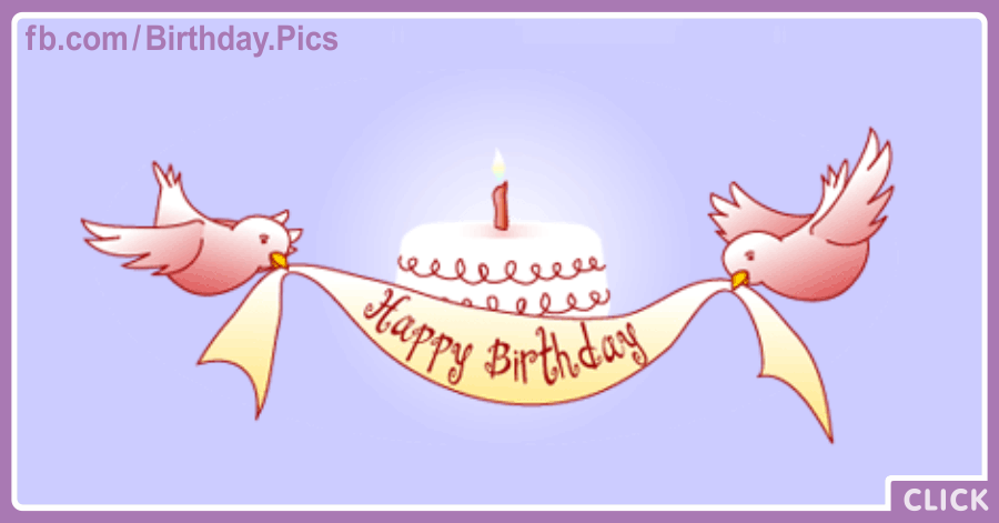 Pink Birds Banner Happy Birthday Card