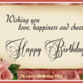 Pink Rose Vintage Happy Birthday Card